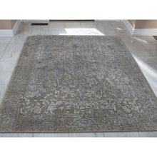 "Load image into Gallery viewer, 2'x2'10"" Tone on Tone Wool and Silk Abstract Design Hand-Loomed Oriental Rug FWR238410"