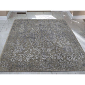 "2'x2'10"" Tone on Tone Wool and Silk Abstract Design Hand-Loomed Oriental Rug FWR238410"