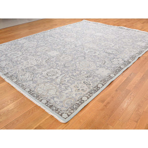 "9'1""x12'5"" Hand-Knotted Flat Weave with Raised Silk Oriental Rug FWR239784"