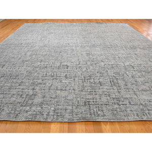 "12'1""x15'3"" THE MATRIX Pure Silk with Textured Wool Tone on Tone Hand-Knotted Rug FWR239850"