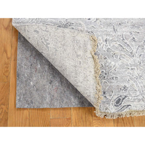 "2'7""x5'10"" Hand-Knotted Damask Tone On Tone Wool and Silk Hi-Lo Pile Runner Oriental Rug FWR240186"