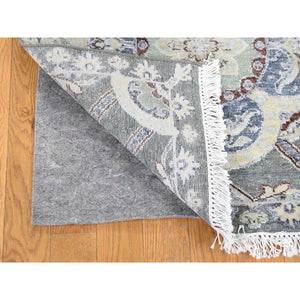 "2'6""x12' Silk with Textured Wool Rosette Design Hand-Knotted Oriental Rug FWR243408"