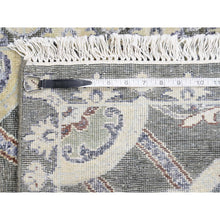 "Load image into Gallery viewer, 2'6""x12' Silk with Textured Wool Rosette Design Hand-Knotted Oriental Rug FWR243408"