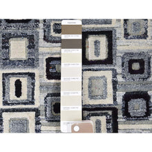 "Load image into Gallery viewer, 9'x12'1"" THE SQUARES Real Silk Hand-Knotted Oriental Rug FWR243498"