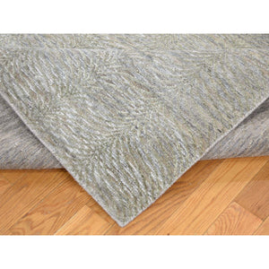 9'x12' Real Silk with Textured Wool Tone on Tone Hand-Knotted Oriental Rug FWR243546