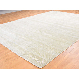 "10'1""x14' Hand-Knotted Wool and Silk Grass Design Oriental Rug FWR244524"