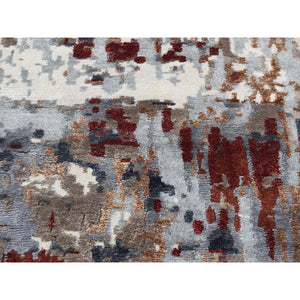 "8'x9'8"" Hand-Knotted Wool And Silk Abstract Design Oriental Rug FWR244776"