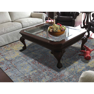 "7'8""x9'10"" Hand-Knotted Silk With Textured Wool Broken Design Rug FWR247794"
