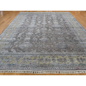 "8'10""x12' Chocolate Brown Art Silk And Textured Wool Hand-Knotted Oriental Rug FWR248748"