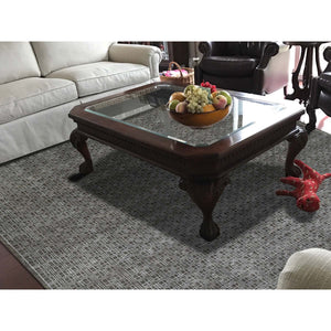 "8'1""x9'9"" Box Design Wool And Silk Chocolate Brown Hand-Knotted Rug FWR248868"