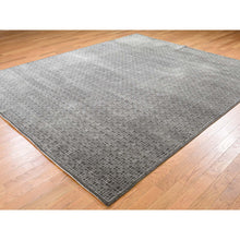 "Load image into Gallery viewer, 8'1""x9'9"" Box Design Wool And Silk Chocolate Brown Hand-Knotted Rug FWR248868"