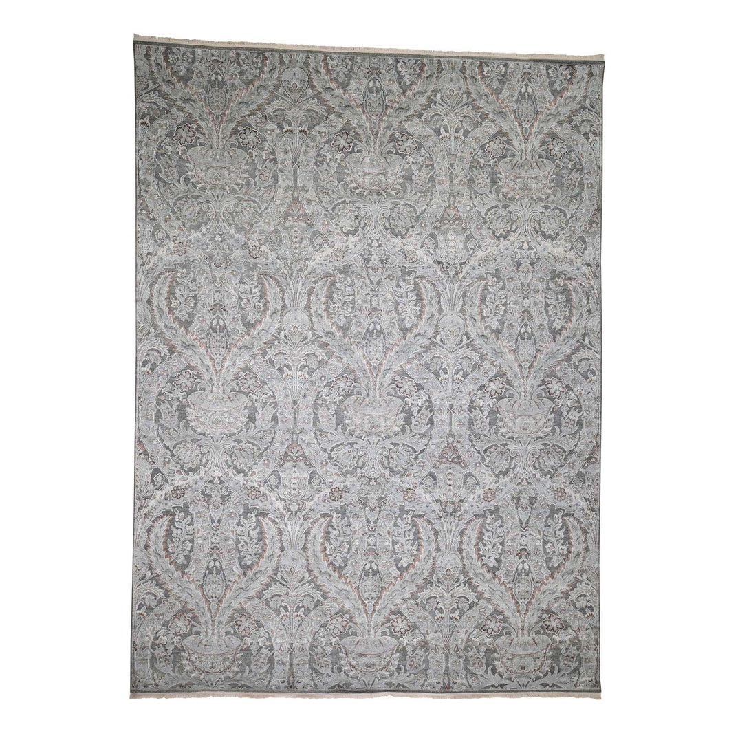 Handmade Wool and Silk Grey Rug