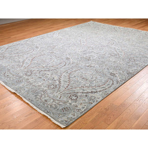 "9'x12'2"" Mughal Design Pure Silk With Textured Wool Hand-Knotted Oriental Rug FWR248904"
