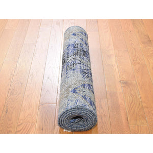 "2'7""x8'3"" Silk With Textured Wool Hand-Knotted Runner Oriental Rug FWR248940"