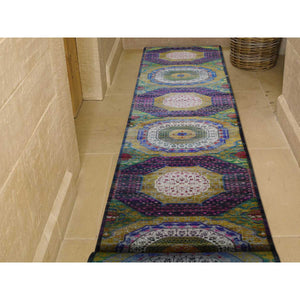 "3'1""x19'3"" Sari Silk And Textured Wool Mamluk Design XL Runner Hand-Knotted Oriental Rug FWR250020"