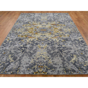 "6'1""x8'10"" Wool And Silk Abstract Design Hand-Knotted Oriental Rug FWR250770"