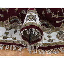 "Load image into Gallery viewer, 7'2""x7'2"" Half Wool and Half Silk Burgundy Rajasthan Round Hand-Knotted Oriental Rug FWR254982"