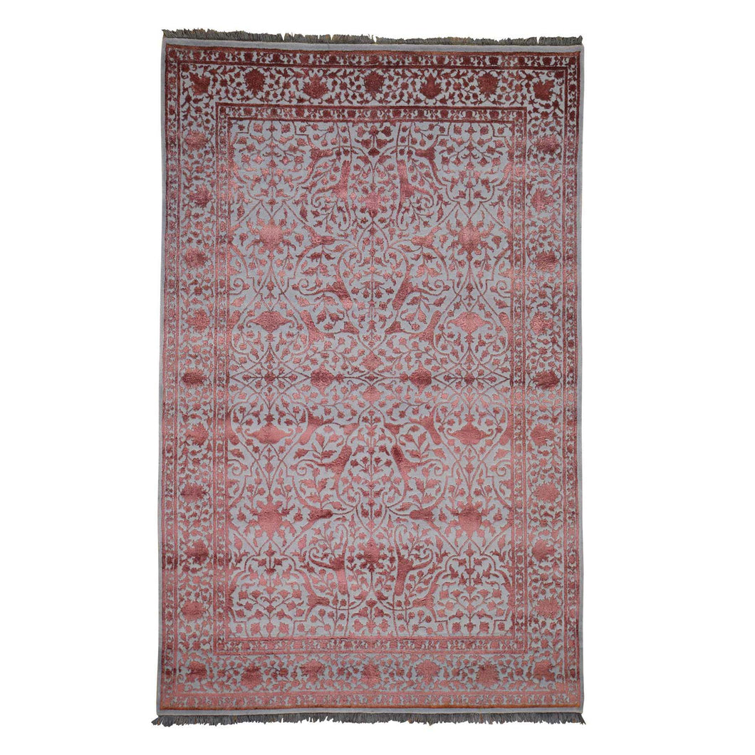 Handmade Wool and Silk Pink Rug