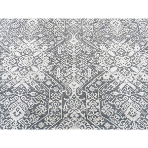"9'x12'2"" Tone On Tone Silk With Textured Wool Transitional Hand-Knotted Oriental Rug FWR256914"