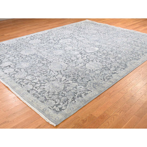 "9'x11'8"" Pure Silk With Textured Wool Oushak Influence Hand-Knotted Oriental Rug FWR259296"
