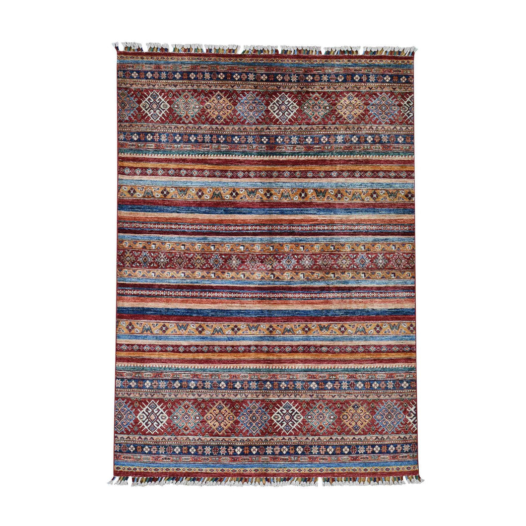 Handmade Kazak Multicolored Rug