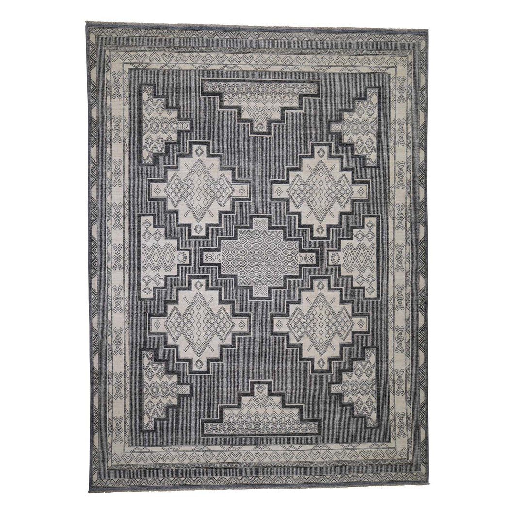 Handmade Oushak And Peshawar Grey Rug