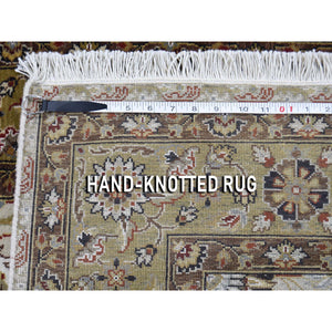 "3'6""x10'3"" Wool And Silk Hereke Design 300 Kpsi Runner Hand-Knotted Oriental Rug FWR262260"