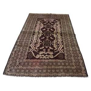 Handmade Tribal and Geometric Brown Rug