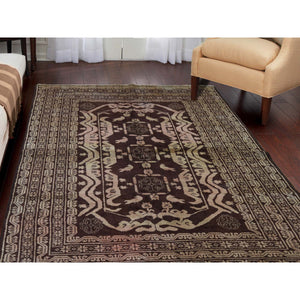 "4'1""x6'9"" Pure Wool Afghan Baluch Washed Out Color With Birds Hand-Knotted Oriental Rug FWR263700"