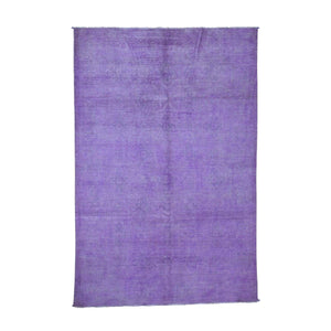 Handmade Overdyed and Vintage Purple Rug