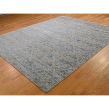 "Load image into Gallery viewer, 7'10""x10'2"" Pure Silk With Textured Wool Trellis Garden Design Hand-Knotted Oriental Rug FWR265272"