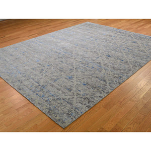 "7'10""x10'2"" Pure Silk With Textured Wool Trellis Garden Design Hand-Knotted Oriental Rug FWR265272"