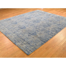 Load image into Gallery viewer, 8'x10' Silk With Textured Wool Denim Blue Erased Rossette Design Hand-Knotted Oriental Rug FWR265404