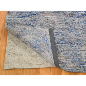 8'x10' Silk With Textured Wool Denim Blue Erased Rossette Design Hand-Knotted Oriental Rug FWR265404
