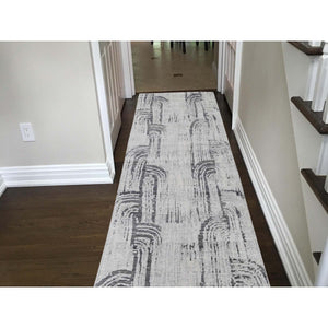 "2'7""x8' THE CANE Pure Silk With Textured Wool Hand-Knotted Runner Oriental Rug FWR265476"