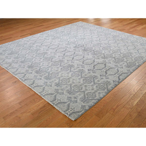 "8'1""x9'3"" Ikat Silver Wash Tribal Design Pure Wool Hand-Knotted Oriental Rug FWR265992"