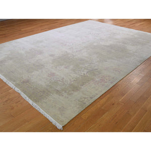 "9'x12'3"" Wool And Silk With Touch Of Pink Hand-Knotted Oriental Rug FWR266358"