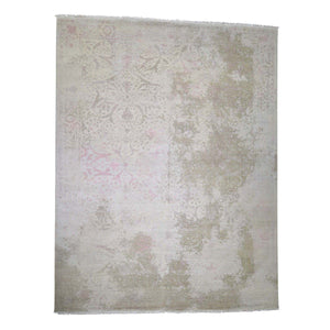 Handmade Wool and Silk Ivory Rug