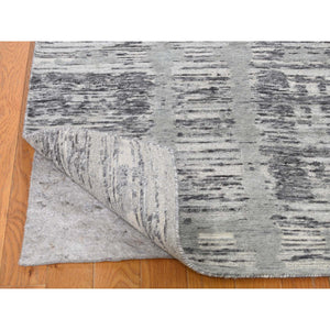 "2'6""x12' Undyed Natural Wool Hand Spun Yarn Runner Oriental Hand-Knotted Rug FWR266478"