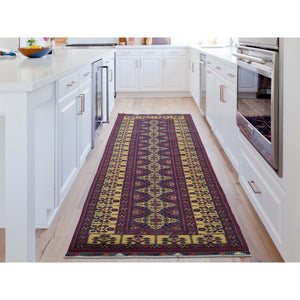 "3'x10'2"" Afghan Khamyab Vegetable Dyes Pure Wool Hand-Knotted Runner Oriental Rug FWR267114"