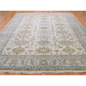 "8'10""x11'10"" Karajeh Design Pure Wool Hand-Knotted Oriental Rug FWR267696"