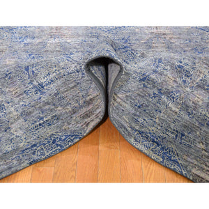 "8'x10'2"" ERASED ROSSETS,Silk With Textured Wool Denim BluE Hand-Knotted Oriental Rug FWR268842"