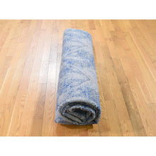 "Load image into Gallery viewer, 8'x10'2"" ERASED ROSSETS,Silk With Textured Wool Denim BluE Hand-Knotted Oriental Rug FWR268842"