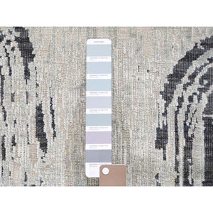 6'x9' THE CANE, Pure Silk With Textured Wool Hand-Knotted Oriental Rug FWR268890