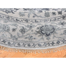 Load image into Gallery viewer, 10'x10' Silver Heriz Design Wool And Silk Hi-lo Pile Round Hand-Knotted Oriental Rug FWR269460