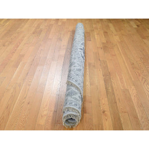 10'x10' Silver Heriz Design Wool And Silk Hi-lo Pile Round Hand-Knotted Oriental Rug FWR269460