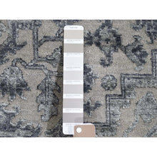 "Load image into Gallery viewer, 6'x9'1"" Silver Heriz Design Wool And Silk Hi-lo Pile Hand-Knotted Oriental Rug FWR269520"