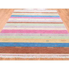 "Load image into Gallery viewer, 5'7""x8' Striped Modern Hand Loomed Gabbeh Pure Wool Oriental Rug FWR270936"