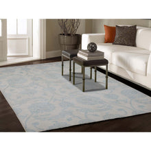 "Load image into Gallery viewer, 6'1""x8'10"" Pure Wool Transitional Tone on Tone Borderless Design Hand-Knotted Ivory Oriental Rug FWR270990"