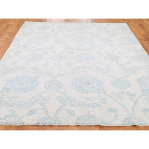 "6'1""x8'10"" Pure Wool Transitional Tone on Tone Borderless Design Hand-Knotted Ivory Oriental Rug FWR270990"